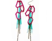 Teal Tassel Earrings, Geometric Earrings, Fringe Leather Earrings, Fuchsia and Turquoise Hexagon Earrings, Modern Jewelry