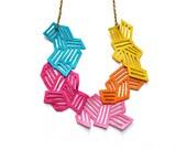 Geometric Necklace Neon Leather Chevron Stripes