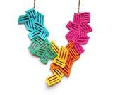 Neon Geometric Necklace Leather Color Block Stripes