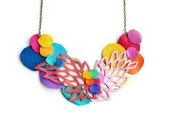Geometric Leather Necklace Neon Circles and Lattice