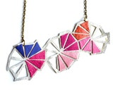 Geometric Necklace Leather Triangle Color Block
