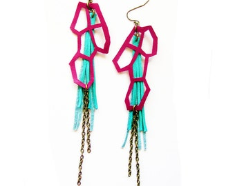 Teal Tassel Earrings, Geometric Earrings, Fringe Leather Earrings, Fuchsia and Turquoise Hexagon Earrings, Modern Jewelry