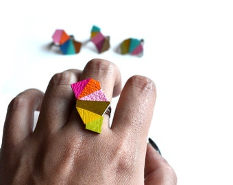 Geometric Leather Ring Triangle Kaleidoscope