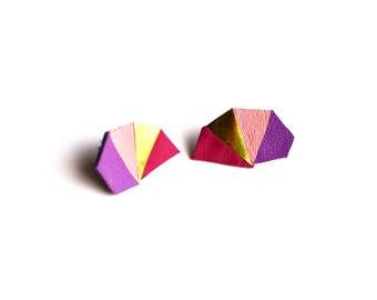 Leather Earrings, Geometric Earrings, Post Stud Earrings, Purple Studs, Gold Earrings, Triangle Earrings, Metallic Earrings, Leather Jewelry