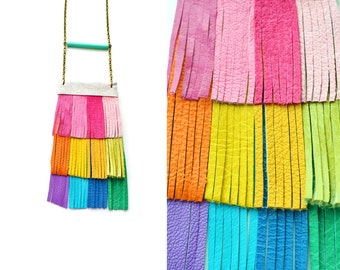 Leather Fringe Bib Necklace, Rainbow Necklace, Colorful Leather Jewelry, Geometric Necklace