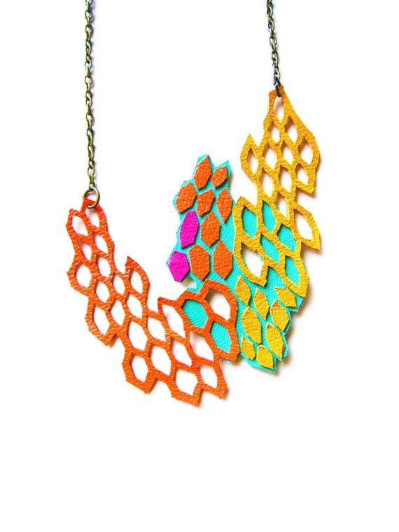 Geometric Leather Necklace Neon Modern Molecules