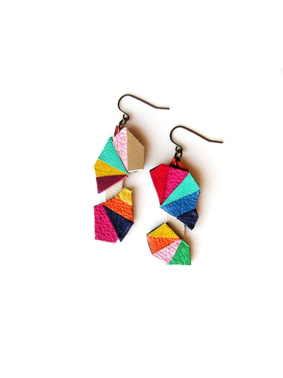Leather Earrings Geometric Triangle Kaleidoscope