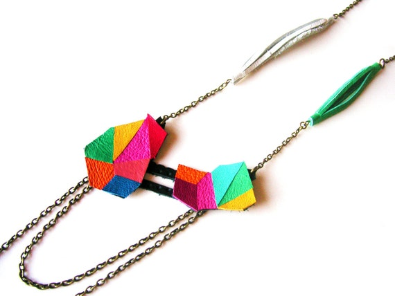 Geometric Leather Necklace Triangle Color Blocking