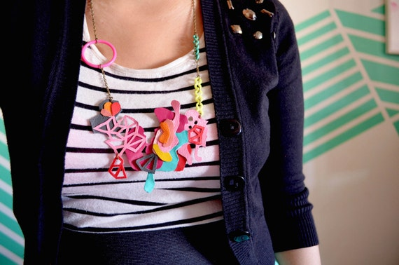 Geometric Necklace Triangle and Leather Ink Blot Art