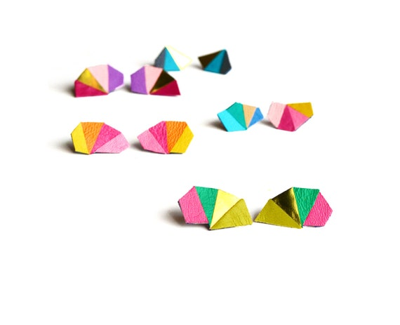 Geometric Post Stud Earrings, Metallic Gold Earrings, Pink and Green Triangle Stud Earrings, Geometric Jewelry