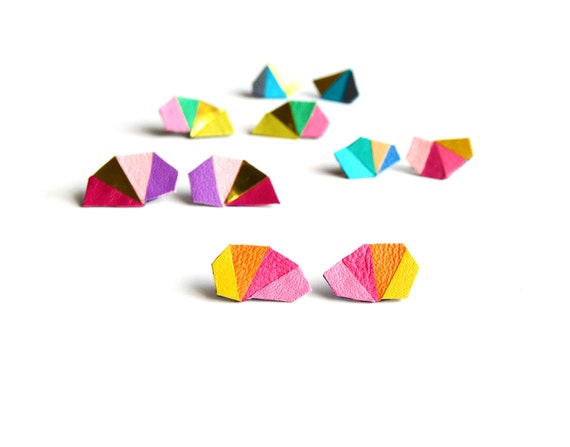 Geometric Leather Earrings Mini Triangle Kaleidoscope
