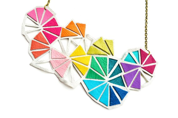 Geometric Leather Bib Necklace Neon Triangle Kaleidoscope