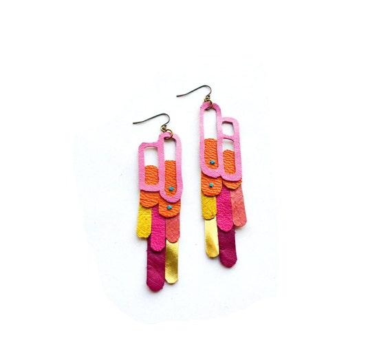Leather Earrings Neon Geometric Pop Art