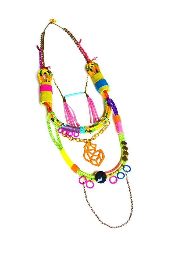 Neon Rope Necklace Tribal Triangle and Leather Wrap