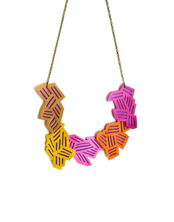 Geometric Necklace Neon Color Block Chevron Stripes
