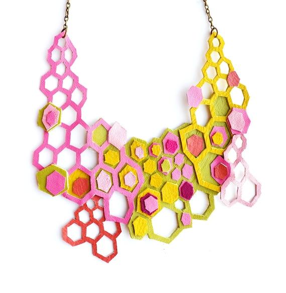 Neon Leather Necklace Molecular Geometric Hexagons