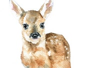 Deer Fawn Watercolor Original Painting