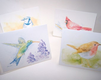 Watercolor Bird Note Cards Set