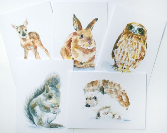Woodland Animals Watercolor Note Card Set - 5.5x4.25 Small Cards