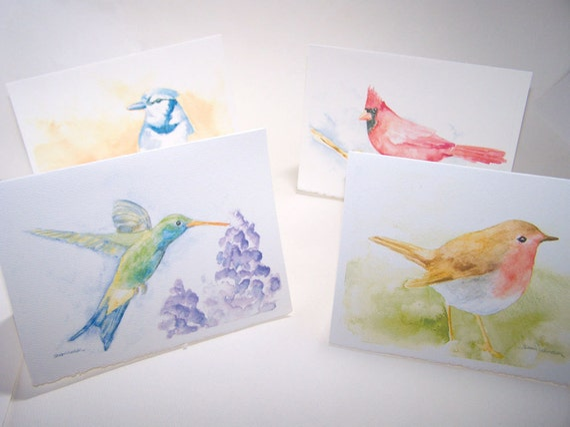 Watercolor Bird Note Cards Set