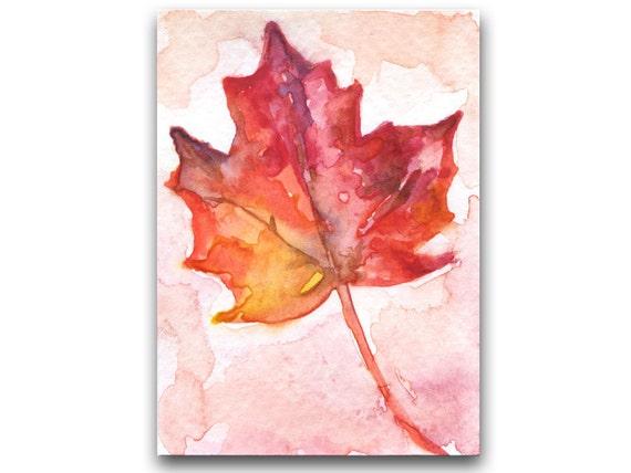 Autumn Leaf ACEO Original Watercolor Painting