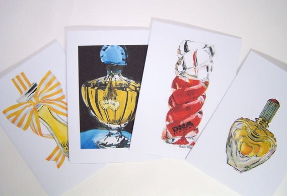 Perfume Bottle Painting Note Card Set - Shalimar Giorgio Perfume - Watercolor Art - Pen and Ink
