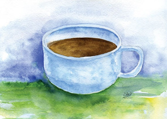 Coffee Cup Watercolor Greeting Card