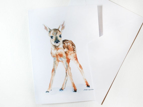Fawn Deer Watercolor Note Card Set
