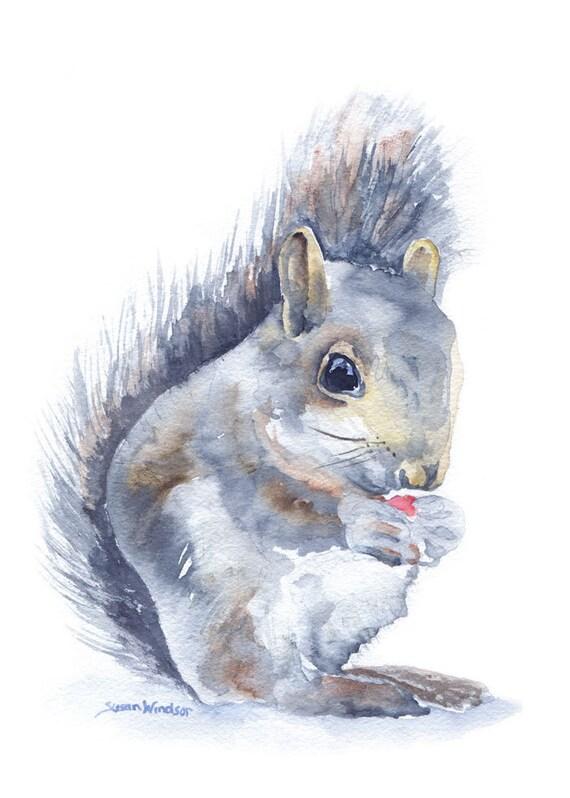 Squirrel Watercolor Note Card Set