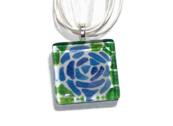 Watercolor Pendant Rose Blue Mosaic Pattern Glass Tile Necklace