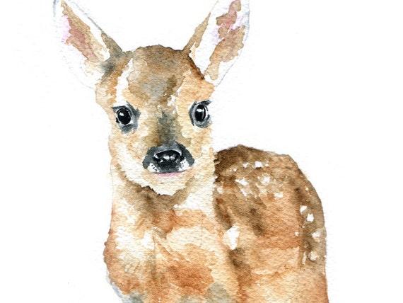 Deer Fawn Watercolor Original Painting