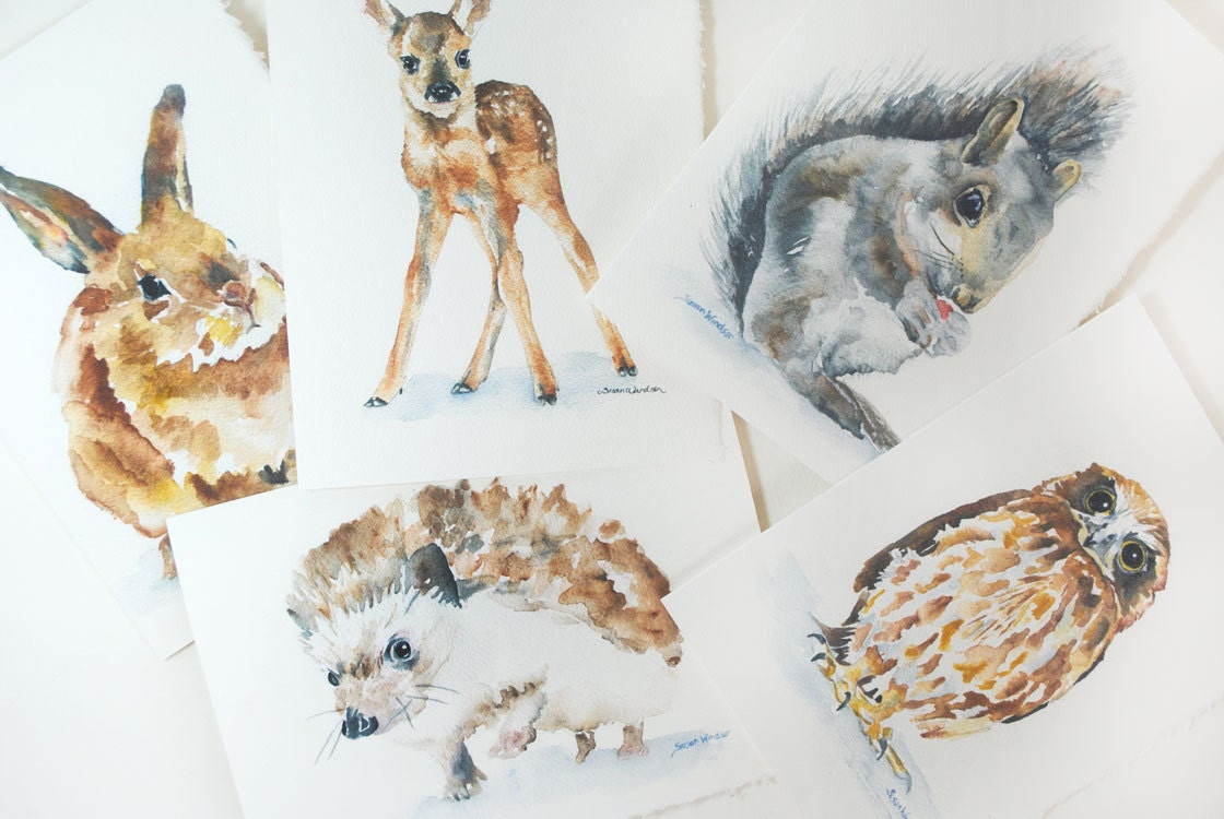 Woodland Animal Watercolor Card Set