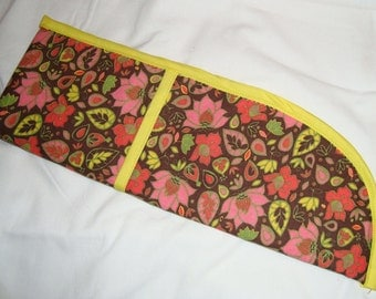 Curling Iron/Flat Iron Cover - Brown with Pink Flowers