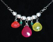 FREE SHIPPING---Wire Wrapped Multi Chalcedony Necklace---Orange Fuschia Yellow Green---Sterling Silver---Creations by Sandy