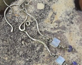 FREE SHIPPING---Rainbow Moonstone Tanzanite Spiral Dangle Earrings---Sterling Silver---Creations by Sandy