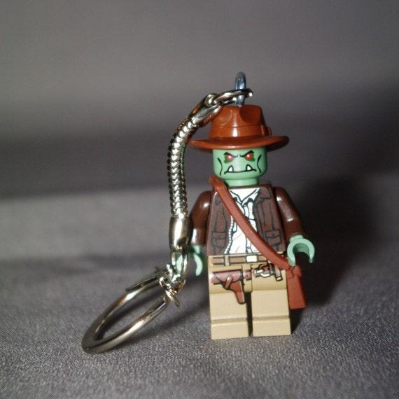 Zombie Indiana Jones Lego key chain