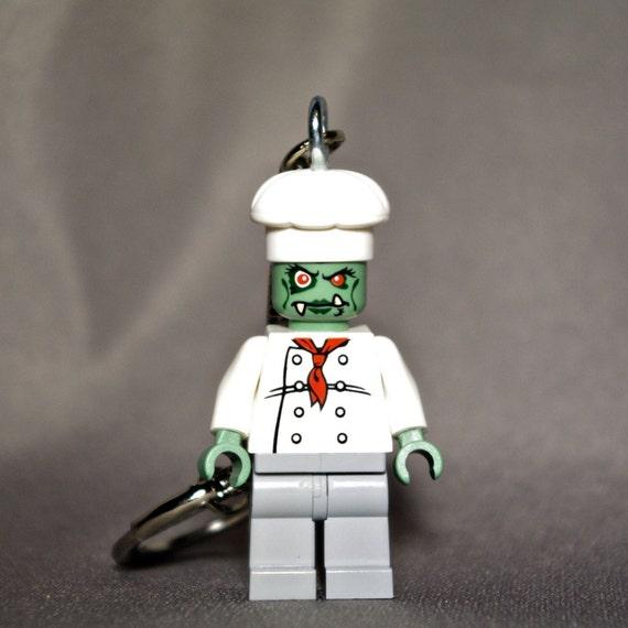 Zombie Girl Chef LEGO key chain