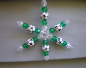 Beaded Soccer Snowflake Ornament