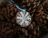 Lucite and Glass Bead Snowflake Ornament