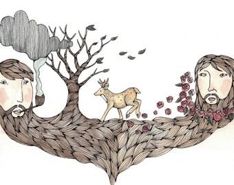 "Bearded Tree Print 8.5x11"""