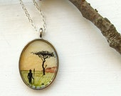 Hand Painted Necklace, Original Wearable Art Painting Pendant, The Beautiful Country