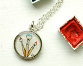 Wearable Art Watercolor Jewelry-- Trio of Paint Brushes -- Hand Painted Necklace, Artist, Art Supplies