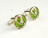 Flower of Scotland --  Watercolor Painting Scottish Thistle Cuff Links