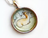 Hand Painted Necklace Charm, Original Wearable Art Pendant, Llama