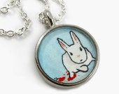 Hand Painted Necklace-- Killer Bunny --Original Wearable Art Pendant