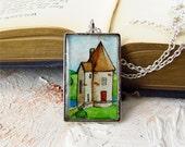 Fairy Tale Castle Tower -- Illustration Necklace, Unique Artisan Jewelry