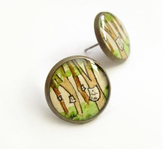 Shakespeare Hand Painted Brass Stud Earrings, Original Wearable Art-- As You Like It