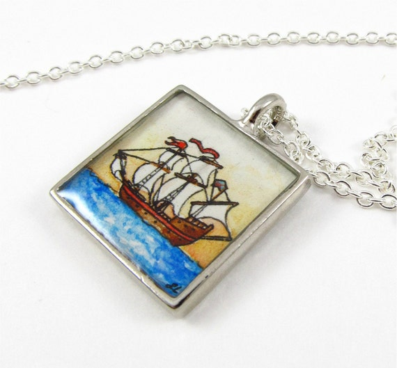 Golden Hind Ship --Nautical Watercolor Painting Pendant, Hand Painted Necklace Charm