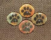 Animal Paw Print Magnets - Set of 4 Glass Gem Mini Magnets - Cat Dog Paw Print (P1)