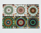 Mandala Magnets - Set of 6 Square Glass Magnets in Earth tones, brown, green, tan, beige (E2)